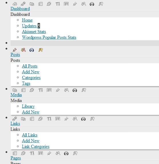 Screenshot of WordPress admin styles not loading