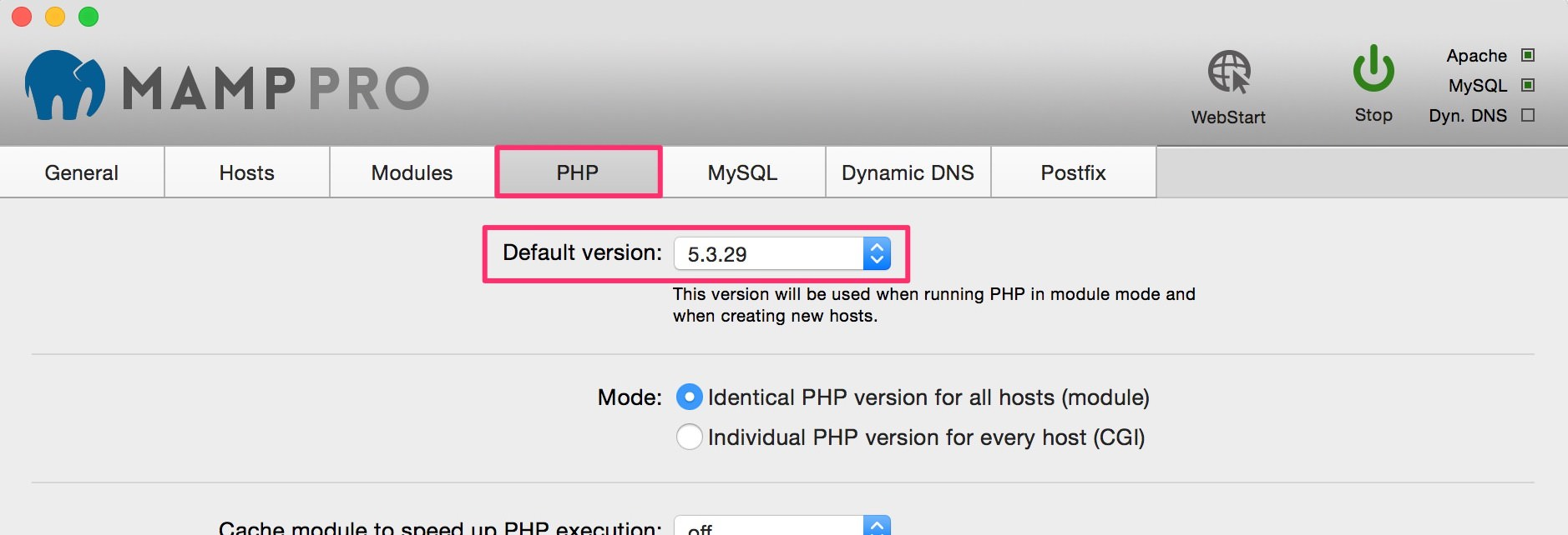 MAMP default PHP version