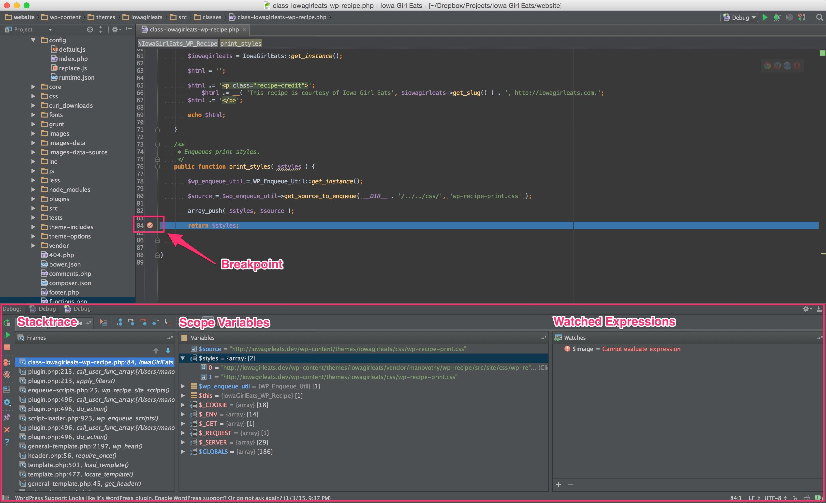 PhpStorm debug breakpoint example